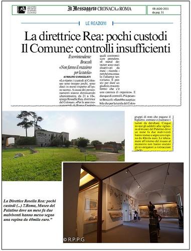 ROMA ARCHEOLOGIA [aggiornare]: Rapinarono l'incasso al museo Palatino quattro arresti, tra loro un ex dipendente. La Repubblica (25/06/2012). by Martin G. Conde