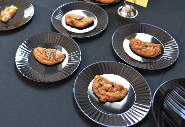 Ramekin nectarine tart, key lime tart with whipped cream; chocolate chip & oatmeal raisin cookie