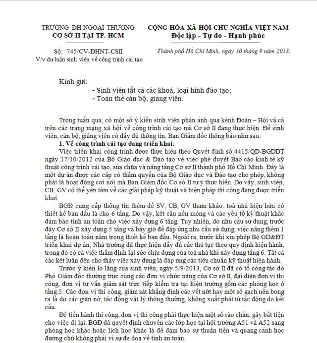 Công văn số 745/CV-ĐHNT-CSII V/v dư luận sinh viên về công trình cải tạo