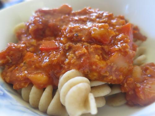 Chorizo and red pepper rotini