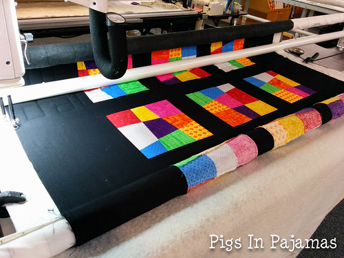 Longarm quilting crazy 9 patch quilt