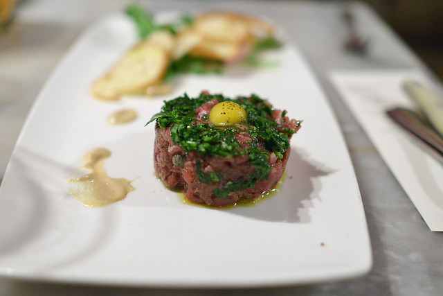 beef tartare + taro chip + quail yolk