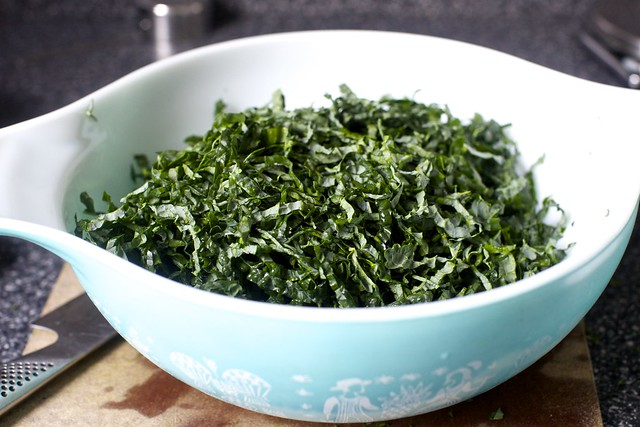 finely slivered kale hay