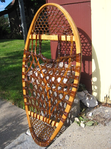 varnished traditional snowshoes