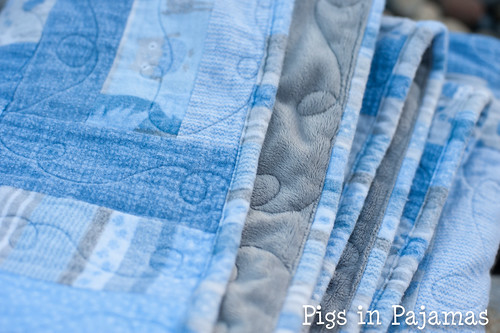 Baby boy woodland creature flannel quilt