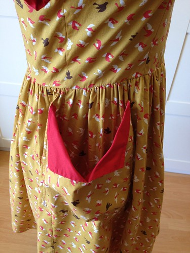 mustard bird dress pocket
