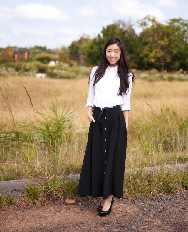 silk maxi dress, black pumps, outfit of the day, fall fashion, white button down, fall pairing