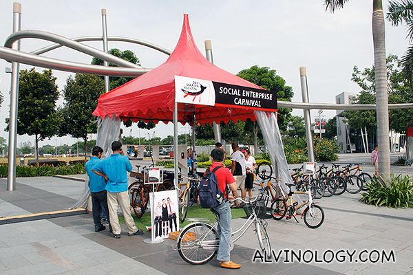 Bamboobee booth, promoting bamboo bikes
