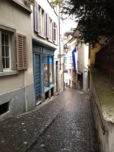 walking in old town Zurich