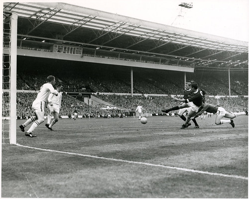 Herd scoring United's final goal in 1963 Cup Final