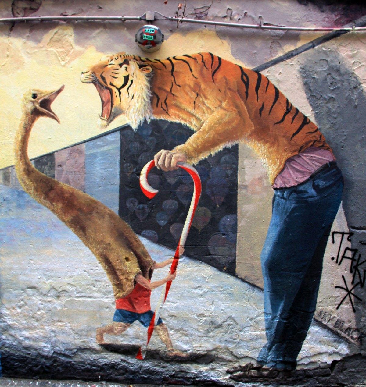Street art seen at Berlin's East Side Gallery