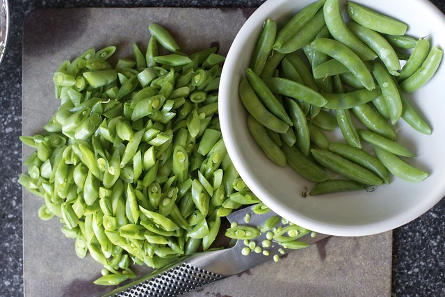 cut the sugar snaps into segments