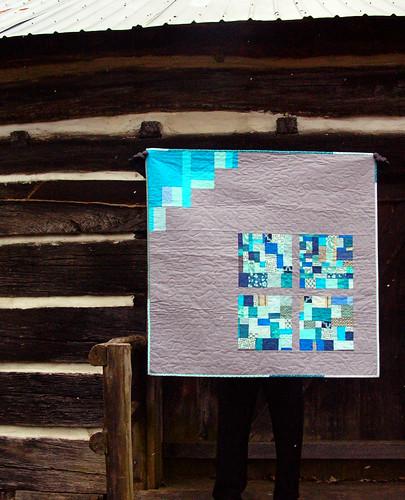 blue squares improv baby quilt