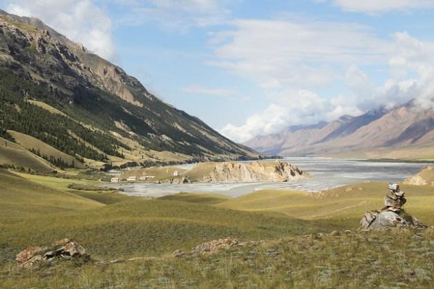 Day 1, hiking along the Inylchek River. South Inylchek Glacier Trek