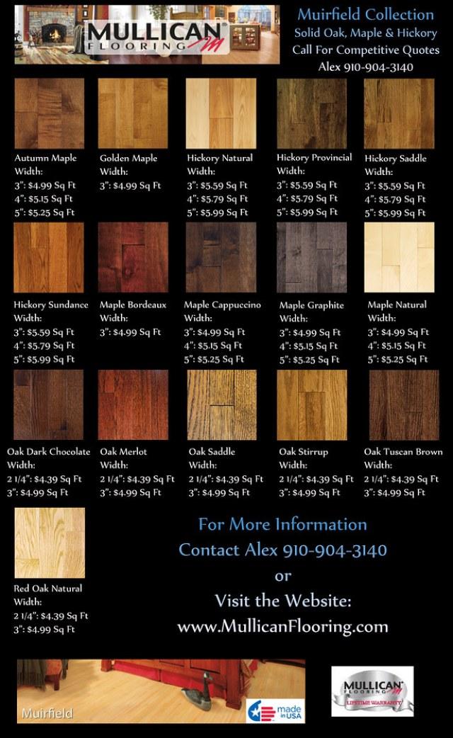Murifield Solid Oak Hickory Maple