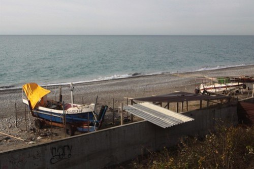 Boats parked on trailers for winter beside the Black Sea