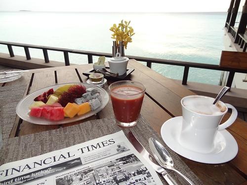 Breakfast table ocean side