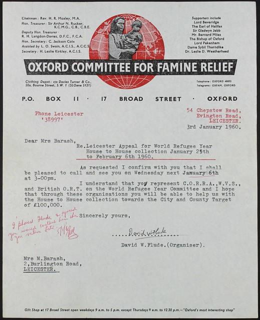 Oxford Committee for famine relief letter, January 1960