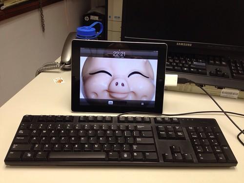 iPad with USB keyboard by Kansir