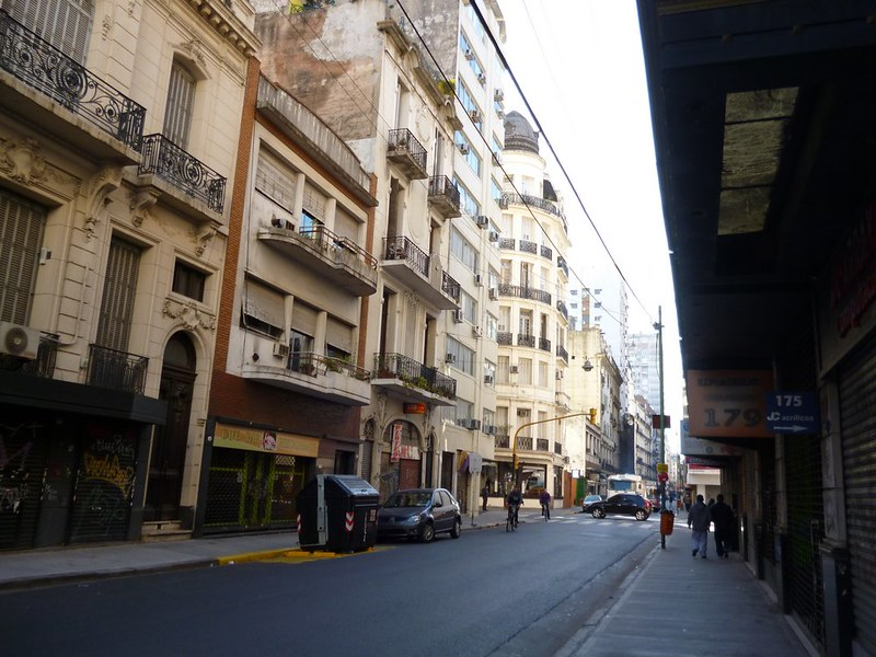 Not so busy street in Buenos Aires