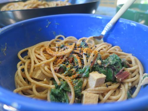Miso spaghetti with Swiss chard and tofu