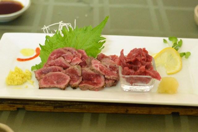 Beef throat sashimi and ribeye sashimi