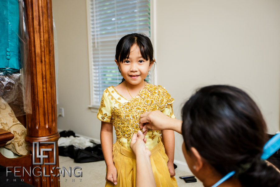 Young Cambodian girl dressed in traditional wedding outfit