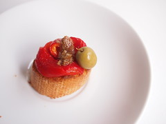 Roasted red pepper + anchovy + green olive pintxo / pincho / tapa /crostini