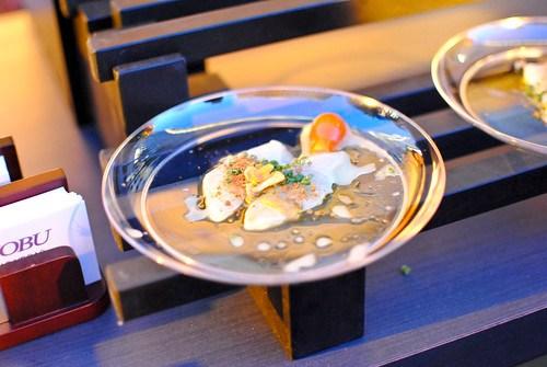 Nobu rock shrimp tempura, creamy spicy sauce, yuzu juice, lettuce cup; white fish dry miso sashimi