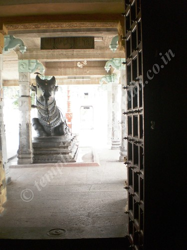 Nandi moved to his right. Thirupungur Sivalokanathar Temple