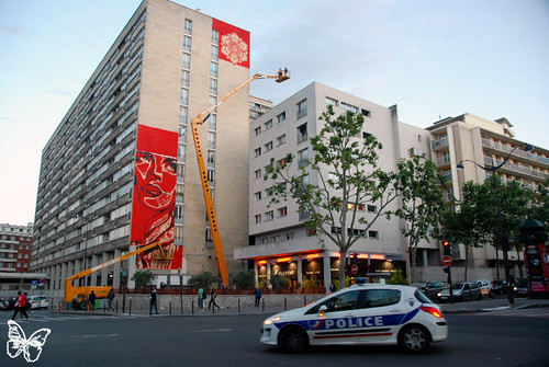 Shepard Fairey - Obey wall in Paris