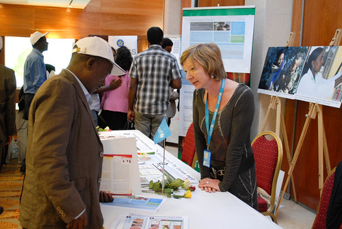 Sylvie Chamois welcomes a visitor to the UNICEF stand at International Disaster Risk Reduction Day Ethiopia