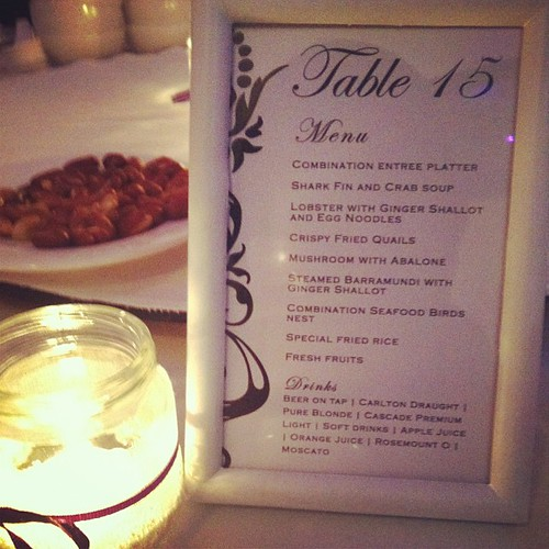 Menu at the wedding... So YUM!