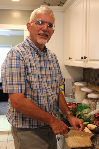 20130908. Dad and his famous guacamole.