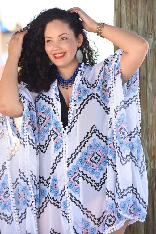 Kimono Beach Cover-up, plus size swimwear