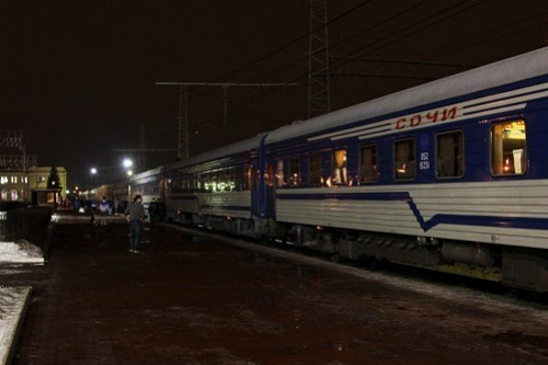 Our train changing direction at Тула (Tula), due to the dead end station