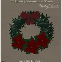 DD Blinking Poinsettia Door Wreath Vendor