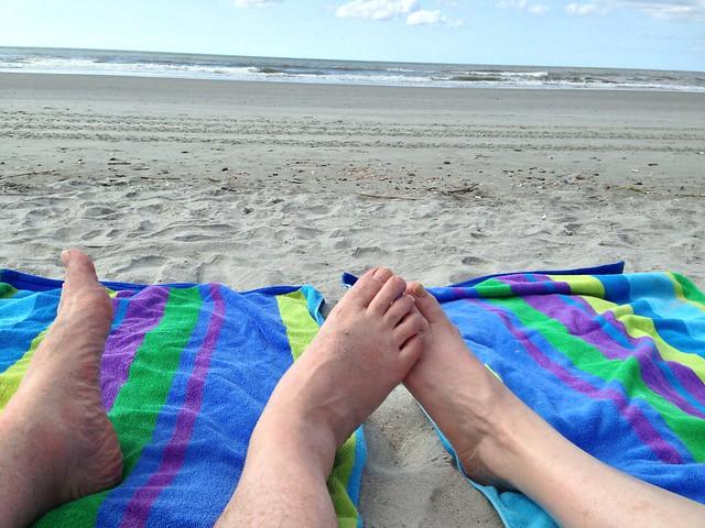 Toes on Folly Beach