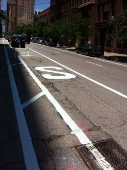 Parking and Standing symbols recently painted on the @Dearbornbikeln.