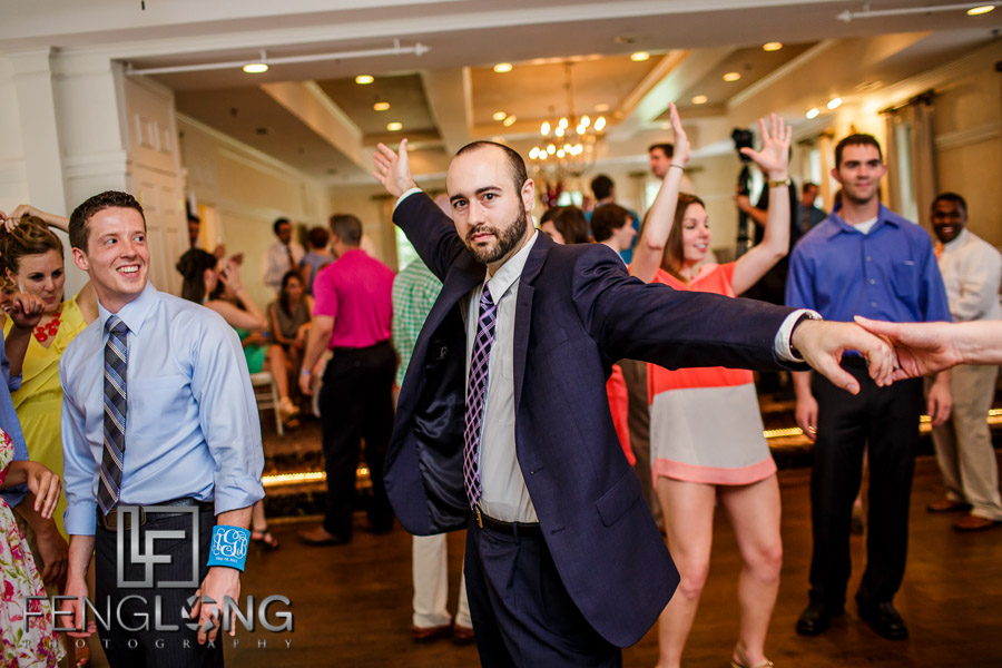 Guests dance during wedding reception