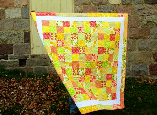Summer citrus framed patchwork quilt