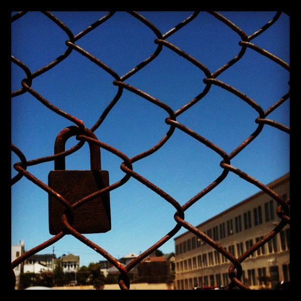 Lock in a fence