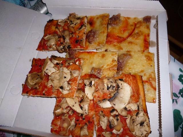 Tasty mushroom pizza and salami pizza