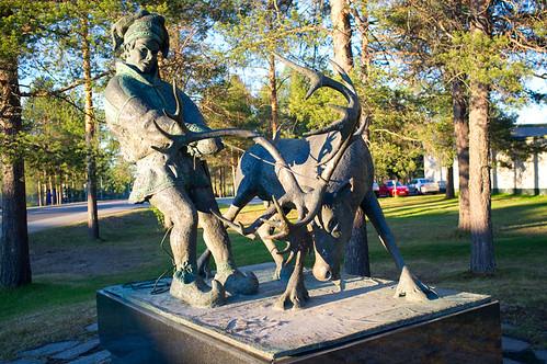 Reindeer herder sculpture, Sodankylä, Lapland