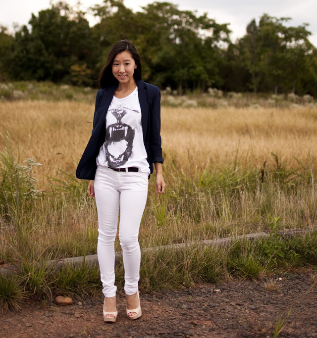 navy blue blazer, graphic tee, white denim, nude pumps, outfit of the day, personal style, forever 21 blazer