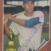 1962 Topps / All-Star Rookie - Billy Williams #288 (Outfielder) (Hall of Fame 1987) - Autographed Baseball Card (Chicago Cubs) (card #1)