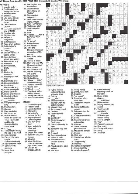 NYT Sunday Puzzle - June 9, 2013