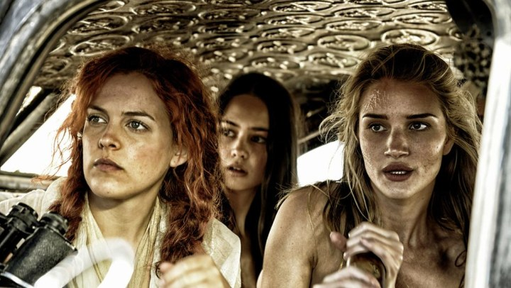 Riley Keough as Capable, Courtney Eaton as Cheedo the Fragile, and Rosie Huntington-Whiteley as The Splendid Angharad. Credit: telegraph.co.uk