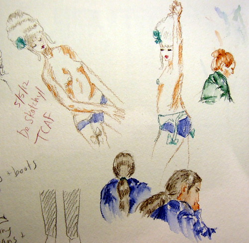 Sketches of topless burlesque performer wearing Marie Antoinette wig