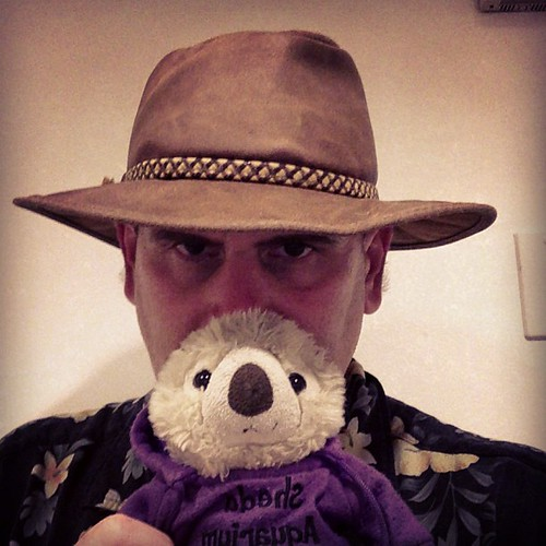 Hanging with my daughter's plush otter while she's in the restroom. #DadLife